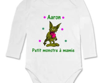 Little monster Bodysuit has Grandma personalized with name