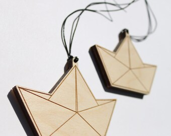 Wooden paper boats