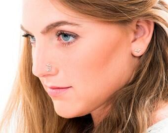 Sterling Silver Birds Nose Stud,  Nose Stud, Big Nose Piercing, Nose Jewelry,  Nose Piercing, Nose Pin, Nose Screw, Gold Nose Ring, Bone End