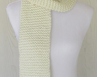 Cream Chunky Knit Scarf, Womens Scarf, Warm Winter Scarf, Winter White, Long Scarf, Ready to Ship, Eclectasie