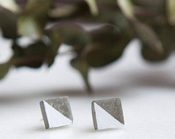 Concrete Square Stud Earrings (White)