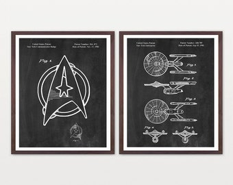 Star Trek Patent Poster - Star Trek Enterprise - Enterprise Patent - Kirk - Spock - Star Trek Art - Star Trek Wall Art - Star Trek Decor