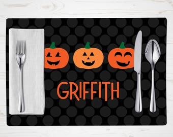 Personalized Halloween Placemat - Children's Jack O Lantern Placemat - Personalized with Child's Name - Custom Placemat