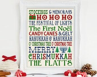 Chrismukkah Gift, Chrismukkah Subway Art Print, Hanukkah Decor, Christmas Decor, Chanukah and Christmas Gift, Christmas and Hanukkah Gift