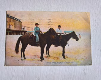 Antique Ponies on the Beach Postcard --- Vintage Wildwood New Jersey Historical Souvenir --- Unique Rare Down the Shore Beach Collectible