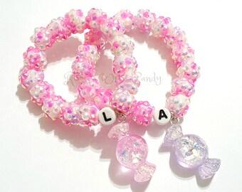 Girls Pink and Purple Candy Charm Bracelet, Stretchy, Little Girls Bracelet, Personalized Letter Bracelet, Stocking Stuffers Handmade