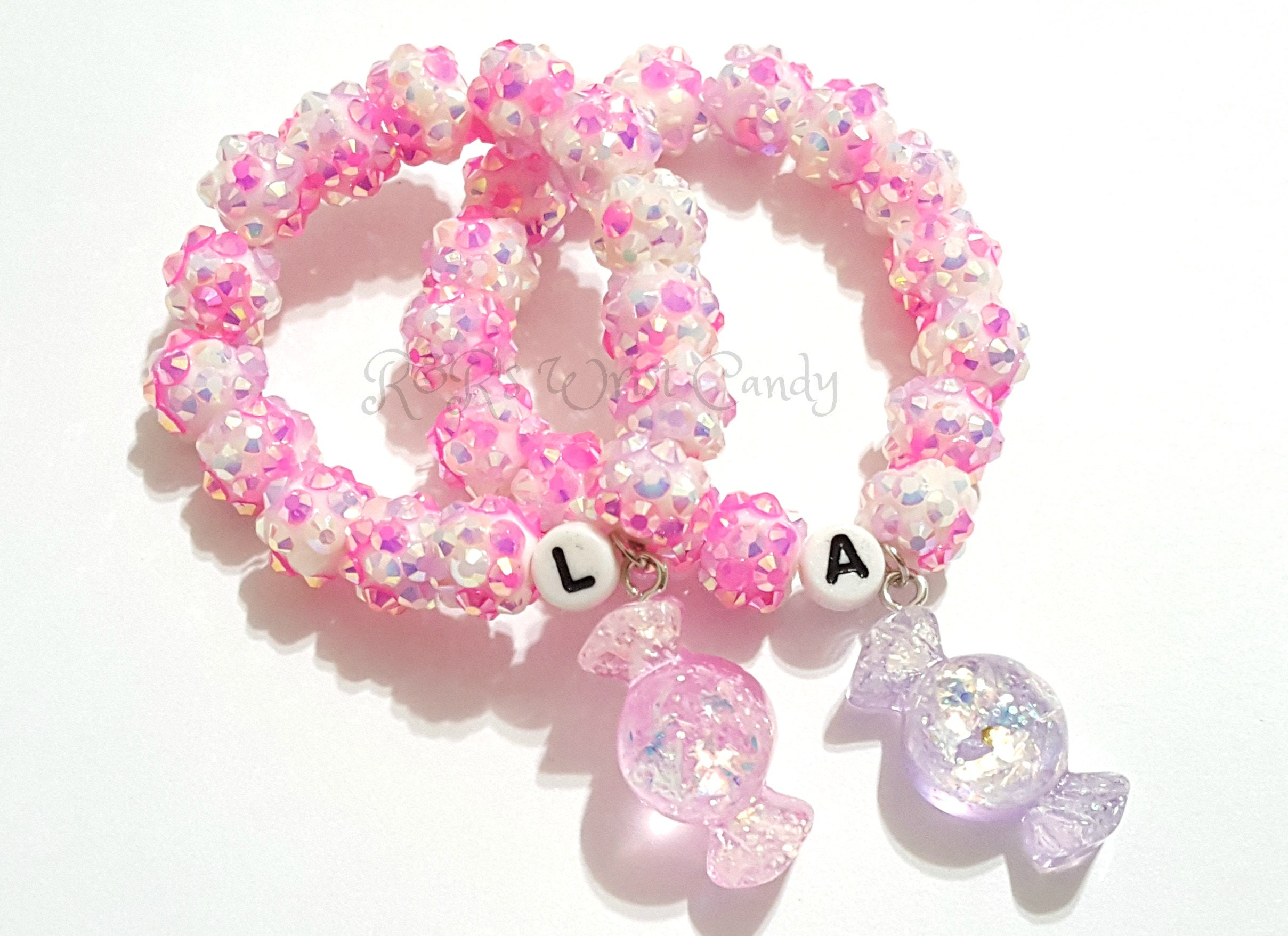 Girls Pink and Purple Candy Charm Bracelet Stretchy Little