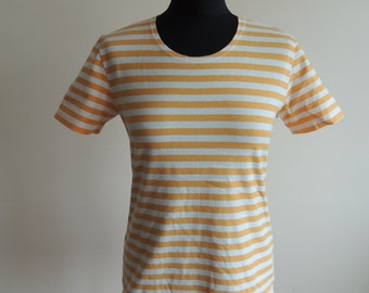 FREE SHIPPING - Vintage MARIMEKKO 100% cotton Orange and white striped T-shirt, size M, made in Finland