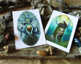 Set of two postcards A6 - Forest Spirits postcards