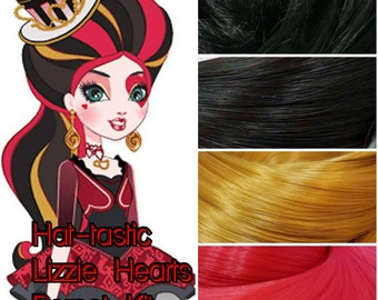 Ever After Hat-Tastic Lizzie Hearts Doll Re-root Pack Nylon Hair Black Red Gold Kit to make your own