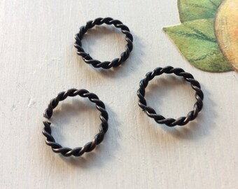 BLACKENED Twisted rope jump rings 5 PC 16.5mm