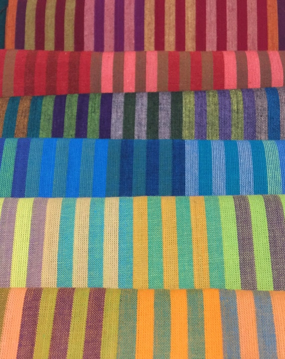 "FQ Pack CATERPILLAR STRIPE  6 cuts 18"" x 22""  Woven fabric by Kaffe Fassett"