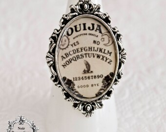 Ouija gothic ring-occult ring-occult jewelry-wiccan ring-ouija-gothic jewelry-glass resin ring-adjustable ring-Halloween jewelry