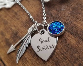 Gift for friend, soul sisters necklace, friendship necklace, friendship gifts, soul sister gifts,best friend jewelry, gift for bestie