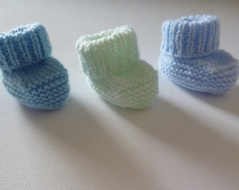 lot booties wool baby knitted 100% handmade.