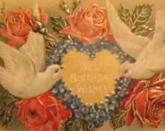 LAST CHACE SALESALE Lovely Vintage Embossed Floral/Dove Postcard