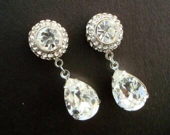 Bridal Earrings Rhinestone Bridal Earrings Swarovski Teardrop Crystal Stud Earrings Statement Bridal Earrings Crystal Earrings PRESLEY