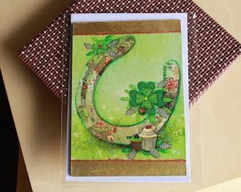 Wooden postcard, Luck postcard, wooden postcard, horseshoe poscard, green lucky postcard, birthday postcard, greeting postcard, luck card