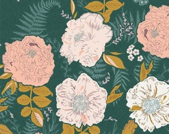 Gathered by Bonnie Christine Foraged Garden in Golden -Art Gallery Fabrics large scale floral print fabric