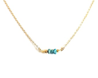 Tiny Turquoise Necklace, Simple Turquoise Necklace, Dainty Turquoise Necklace, Delicate Turquoise Bar Necklace, Thin Gold Necklace