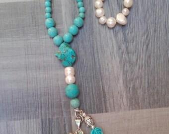 The blue tassel necklace Pearl joy gift it
