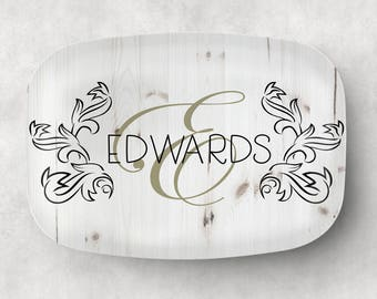 Personalized Serving Platter - Monogram Platter - Add your Family name or Phrase - Holiday Tray - Family Serving Platter