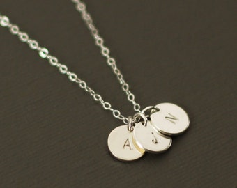 Silver Initials Necklace - 3 Initials - Sterling Silver Personalized Initial Necklace - Customized necklace