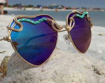 HEARTS Blue ~ SPunGLaSSeS ~ Turquoise Gold Handwoven Wire Wrapped ~ Sunglasses Eyewear Sunnies ~ Hippie Bohemian Chic Trend ~ FREE Shipping