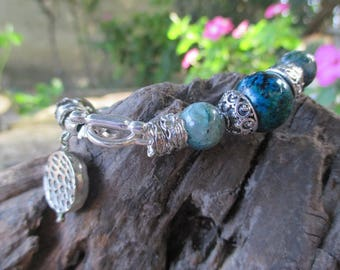 Pretty blue chrysocolla stones bracelet.