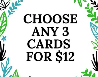 Pick Any 3 Cards for 12, Choose Your Own Cards, Funny Greeting Cards, Bulk Greeting Cards, Funny Cards, Card Sets, Note Cards, Card Pack