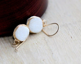 Druzy Gold Dangle Earrings , White Quartz Bezel Wrapped Drops in 14k Gold Filled , Rose Gold , Sterling Silver , Druzy Jewelry