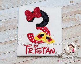 Baby Girl 1st Birthday Shirt - Red Sequins Bow Shirt - Custom Red and Black Birthday Shirt - Mouse Party Outfit