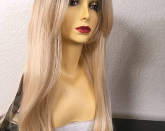 Synthetic 24 nch long layered straight blonde wig ombré dark roots, comes in 5 more colors silk smooth texture