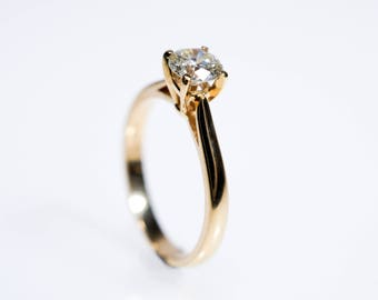 Diamond Ring, Diamond Engagement Ring, Classic Engagement Ring, Diamond Wedding Ring, 14k Gold Diamond Ring, Solitaire Diamond  Ring