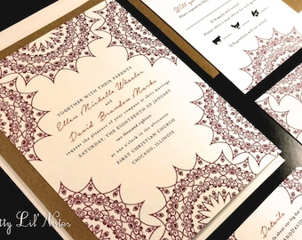 Flourish Lace Damask Henna Custom Unique Wedding Invitation Horizontal Spring Summer Fall Winter Striking Floral Toile Indian Kraft Modern