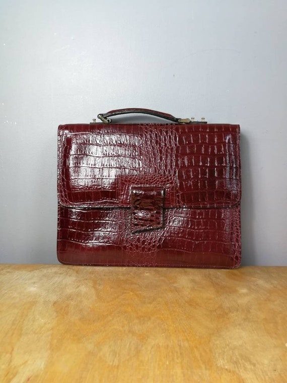 Maroon leather briefcase bag / 70s ox blood hand held purse / maroon mock croc leather purse / 1970s bag / red wine leather bag