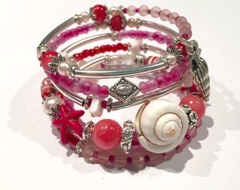 Wrap Bracelet, Pink Bracelet, Pink Wrap Bracelet, Memory Wire Bracelet, Beach Bracelet, Beach Jewelry, Starfish Jewelry, Sea Bracelet