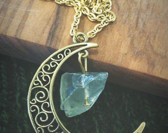 """24"""" Gold Plated Moon & Stone Natural Necklace - Boho, Gypsy, Wild, Nature, Naturalist"""