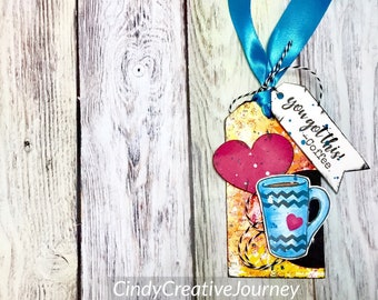 Coffee Gift Tag - Coffee Tag - Teacher Gift Tag - Mixed Media Tag - Coffee Gift - Coffee Cup Tag - Fun Stampers Journey Tag - Blue Cup
