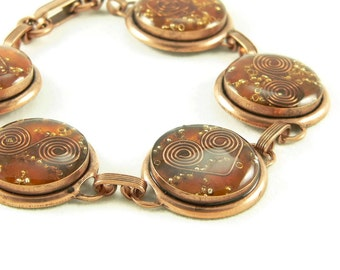 Orgone Energy Circle Link Bracelet in Copper with Orange Carnelian - Artisan Jewelry - Orgone Energy Jewelry