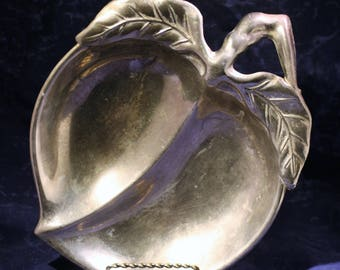 Silver Plated Peach Dish * Divided