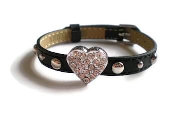 Bling Heart Leather Bracelet - Studded Leather Heart Bracelet - Black Studded Leather Wristband With Bling Heart