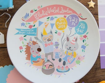 Baby Birth Plate - Woodland Picnic, Pink Shades