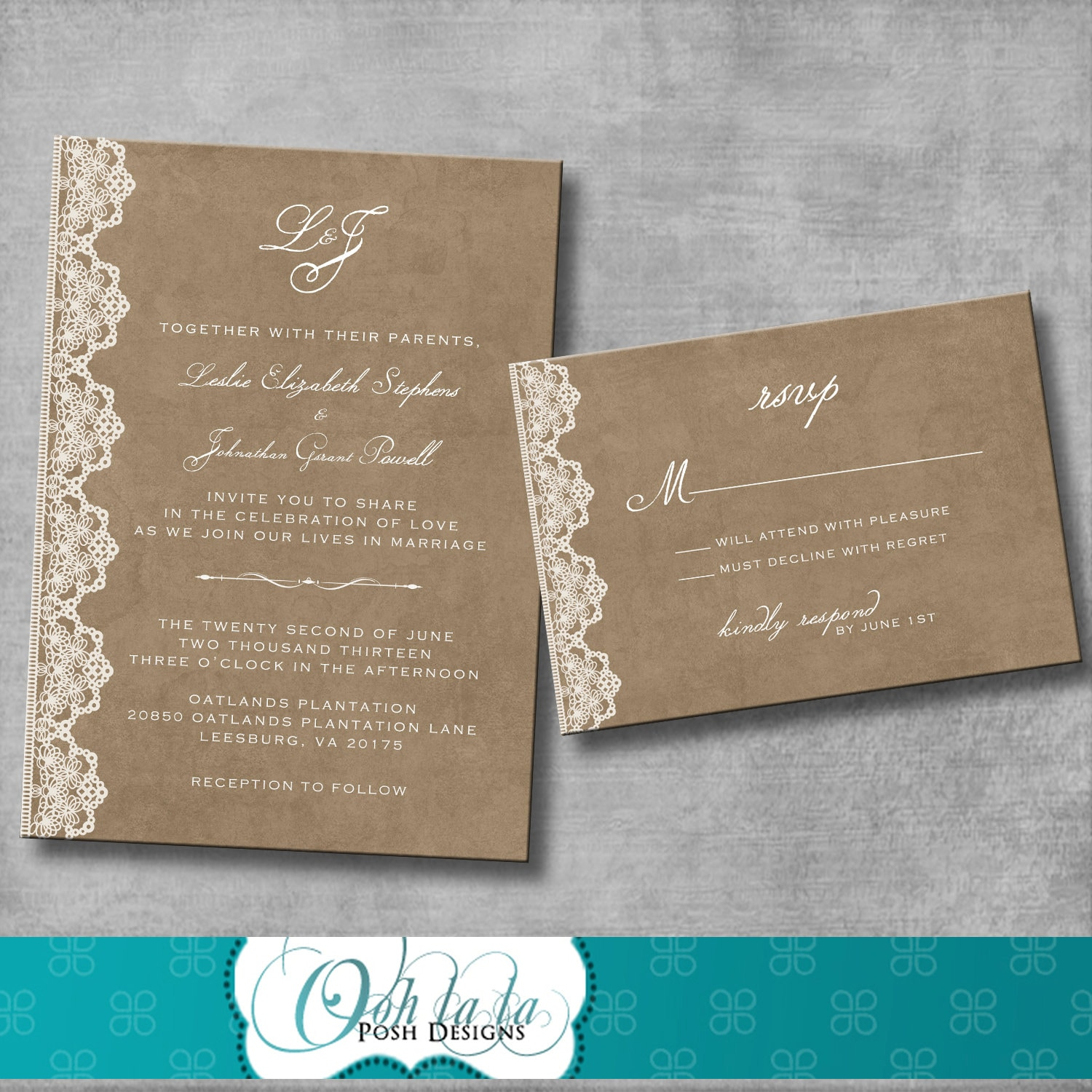 Wedding Invitation And Matching Response Card Vintage Rustic