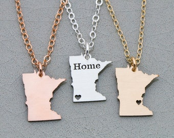 Minnesota State • Minnesota Necklace • United States Charm • USA Pendant Sterling Silver State Necklace Hometown Moving Away Gift