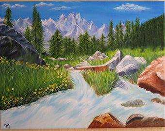 Between mountains and forest stream: oil paint. Free shipping to relay point.