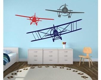 Monoplane Biplane Graphics Children Boys Bedroom  Vinyl Decal Airplane Wall Decal Nursery Decor Mural Graphics Boys Room Decor