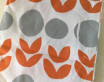 Lotta Jansdotter, Bella Orange & Grey Tulips, Quilt Fabric, Fat Quarter, Fabric Sewing Fabric Retro Fabric