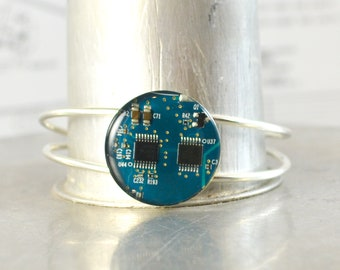 Recycled Circuit Board Bracelet Turquoise, Circuit Board Jewelry, Geeky Cuff Bracelet, Technology Gift, Techie Jewelry, Engineer Gift, Nerdy