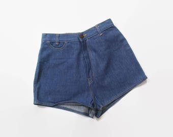 Vintage 70s JEAN SHORTS / 1970s High Waisted Blue DENIM Buckleback Hot Pants xs - s